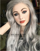 Heahair Silver Hair Body Wave Grey Wig for Women Long Synthetic Lace Front Wigs Curly Hair For Cosplay Wig