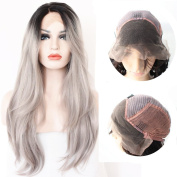 QDBowin Queen Hair 60cm Ombre Grey 2 Tones Synthetic Lace Front Wig Dark Roots Long Natural Straight Silver Grey Replacement Hair Wigs For Women