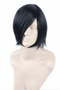 Topcosplay Unisex Short Black Straight Fibre Cosplay Wigs for Women