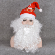 CosHouse Christmas Party Wig Santa Claus Style with Beard 30cm White Curly Costume