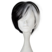 Miss U Hair Women Synthetic Short Straight Black White Hair Cosplay Costume Wig