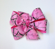 Girls Pink Brown Tree Camouflage Hair Bow Teen Hair Accessory Hot Pink Camo Barrette