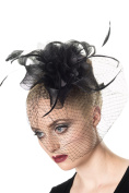 Victorian Gothic Bridal Flower w/ Feather Lace Net Veil Moulin Rouge Fascinator Hair Clip