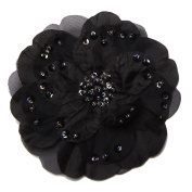 Forever Young Beaded Flower Hair Clip, Black