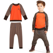 Efaster Handsome Boys Warm Outfit Clothes Letter A Print T-shirt Tops Long Pants