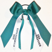 Gymnastics Hair Bow, Many Colours Avail, Made in the USA, USA Gymnastics, Black Ink, Black Pony Band