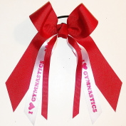 Gymnastics Hair Bow, Many Colours Avail, Made in the USA, I heart gymnastics, Red Ink, Black Pony Band