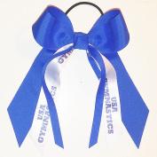 Gymnastics Hair Bow, Many Colours Avail, Made in the USA, USA Gymnastics, Blue Ink, Black Pony Band