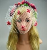 Merroyal Flower Wreath Headband Floral Crown Garland Halo with Veil Handmade for Wedding Festivals
