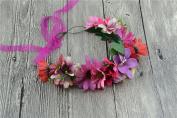 Merroyal Flower Wreath Headband Floral Crown Garland Halo for Wedding Festivals