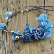 Merroyal Blue Floral Crown Halo Flower Girl Bridesmaid Garland