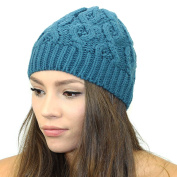 Sweater Knit Beanie Hat (Teal)
