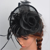 AWAYTR Women Sinamay Fascinator Feather Hat With Hair Clip Wedding Party Hair Accessory