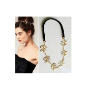 Bridal Wedding Bridesmaid Hair Head Band Headband Olive Branch Leaf Gold Plated With Elastic Band
