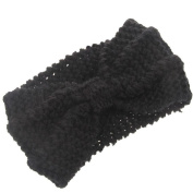 Knit Headband Crochet Winter Warmer Women Lady Hairband Hair Band HeadwrapBlack