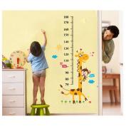 Giraffe Monkey Themed Chart Waterproof Height Measurement Decals Sticker Growth Chart