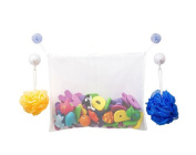 White Mesh Bath Toy Organiser + 2 Strong Hooked Suction Cups for Bonus