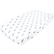 "Premium Cotton Nappy Changing Pad Cover ""Dakota"" Navy Triangles by Copper Pearl"