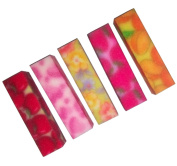 Happy multicoloured nail buffers,medium grit assorted colours, 5 pieces per pack