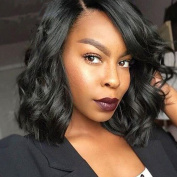 25cm Glueless Short Bob Lace Front Human Hair Wigs For Black Women Brazilian Virgin Hair Wavy Lace Front Human Hair Wigs Bob Short Wig