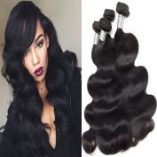 Lemoda Hair Brazilian Virgin Hair Body Wave Weft 7A Grade Black Colour Hair Extension Weave Human Hair 3 Bundles (100+/-5g)/bundle