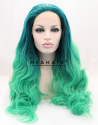 Heahair® Handtied Cosplay Wig Ombre Colour Green Long Wavy Synthetic Lace Front Wig for Costume Women
