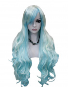 Kalyss women's wigs Long Curly White Blue cosplay wigs