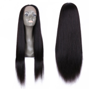 Yaweida Brazilian Remy Human Hair Straight Natural Looking Glueless Lace Front with Baby Hair for Black Women Natural Black