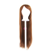 Tomoyo - Auburn Brown Wig 80cm Long Straight Cut w/ Long Bangs