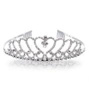 Uarter Wedding Tiara Rhinestones Crown Bridal Headband for Prom Engagement Party Silver