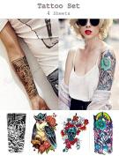 Temporary Tattoo Sticker set 4 Sheets 4 pcs Non-toxic Waterproof Removable Tattoo Set#054 Sticker Tattoo - FashionDancing