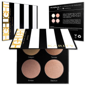 Ultra Pigmented Highlighting Kit - Glow Series Highlighter Makeup Palette Set - Includes 4 Illuminating Powders