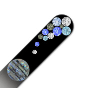 Purse Size Glass Nail File Hand Decorated with Elements, in Black Velvet Sleeve, Genuine Czech Tempered Glass, Lifetime Guarantee, Hand-Made Crystal Nail File