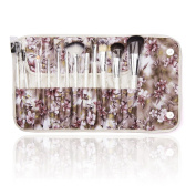 BeautyKate 12Pcs Makeup Cosmetics Brushes Set Kits with Flower Pattern Case