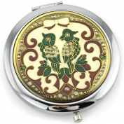 Parrots Gel Inlay - Dual Sided Steel Compact Mirror - Regular & Magnify