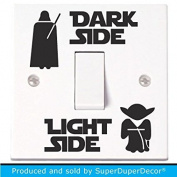 Star Wars Light Switch Stickers. Black, Colour, or Glow-in-the-Dark. decal child room lightswitch wall vinyl dark side darth vader yoda