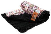 Dear Baby Gear Baby Blankets, Aztec Pink Hummingbird, Black Minky