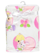 "Precious Moments ""Flowered Bunny"" Plush Blanket - ivory, one size"