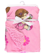 "Precious Moments ""Potted Flowers"" Microplush Blanket - pink, one size"