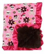 Bubblegum Divas Flower Pirate Skulls Plush Baby Blanket Satin Ruffles 90cm X 80cm inches