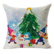 Lucoo 2017 New soft comfortable New Christmas Linen Square Throw Flax Pillow Case Decorative Cushion Pillow Cover