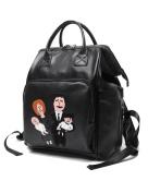 Vlokup Fashionable Multifunction Designer Advanced PU Leather Baby Nappy Bag Backpack Travel Nappy Bag for Stylish Moms & Dads Smart Organise System Black Family Black