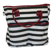 BayB Brand Nappy Tote Bag - Black Stripe with Wine Accents