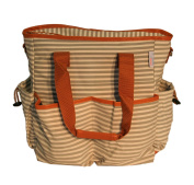 BayB Brand Nappy Tote Bag - Grey Stripe with Saddle Accents