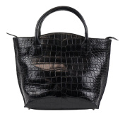 Brunello Cucinelli Black Crocodile Leather Purse Tote Hand Bag