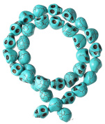 Best Wing Howlite (Grade D) Synthetic-Turquoise Day Of The Dead / Sugar Skull / Skull Loose Beads