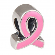 Ribbon Charm with Pink Enamel 925 Sterling Silver Breast Cancer Awareness Charm for Pandora Bracelet