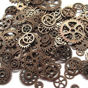 Chenkou Craft Random Random 100 Gramme (Approx 70pcs) Assorted Antique Steampunk Gears Charms Pendant Clock Watch Wheel Gear for Crafting, Jewellery Making Accessory