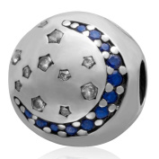 Clip Stopper Charm 925 Sterling Silver Lock Charm Spacer Charm Moon Charm Star Charm for Pandora Bracelet