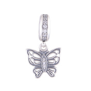 FJCharm Butterfly Love Takes Flight Dangle Charm Fits Pandora Breacelet Charms